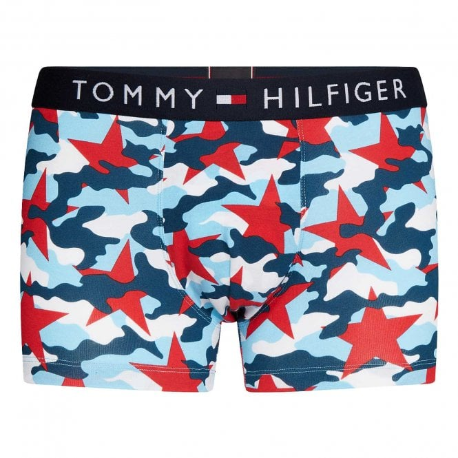 Tommy Hilfiger All Over Print Cotton Stretch Trunk, Desert Sky Camo Print