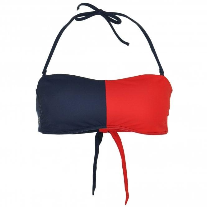 Tommy Hilfiger Bandeau Bikini Top, Tango Red / Navy Blazer