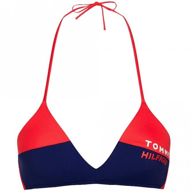 Tommy Hilfiger Bold Swim Halterneck Triangle Bikini Top, Red Glare