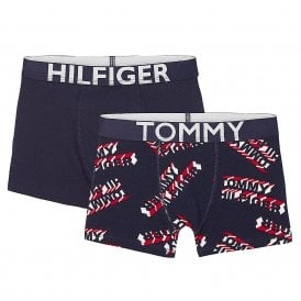 Boys 2 Pack Boxer Trunk, Navy / Navy Logo Print