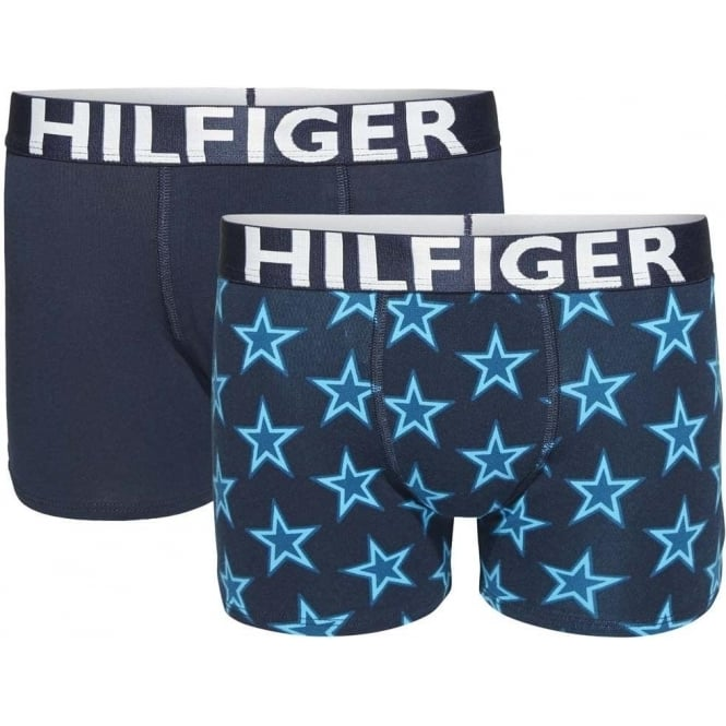 Tommy Hilfiger Boys 2 Pack Boxer Trunk Stars, Ceramic / Navy Blazer