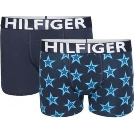 Boys 2 Pack Boxer Trunk Stars, Ceramic / Navy Blazer