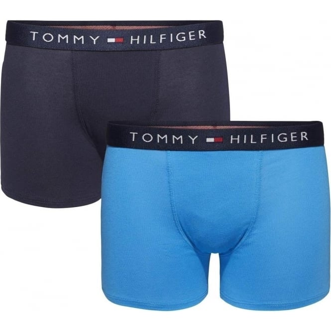 Tommy Hilfiger Boys 2 Pack Icon Boxer Trunk, Brilliant Blue / Navy Blazer