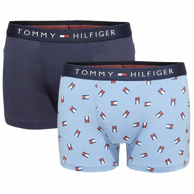 Tommy Hilfiger Boys 2 Pack Icon Boxer Trunk, Navy / Blue Heaven Flag Print