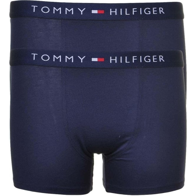 Tommy Hilfiger Boys 2 Pack Icon Boxer Trunk, Navy