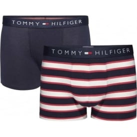 Boys 2 Pack Icon Boxer Trunk, Tango Red / Navy Blazer Stripe