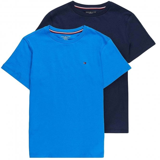 Tommy Hilfiger Boys 2-Pack ICON Short Sleeved Crew Neck T-Shirt, Directoire Blue / Navy Blazer