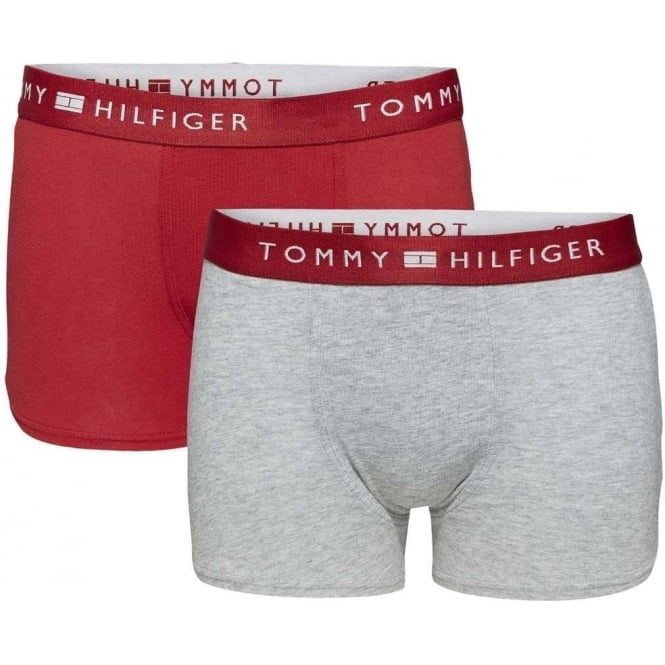 Tommy Hilfiger Boys 2 Pack Modern Classic Cotton Boxer Trunk, Scooter Red / Heather Grey