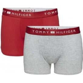 Boys 2 Pack Modern Classic Cotton Boxer Trunk, Scooter Red / Heather Grey