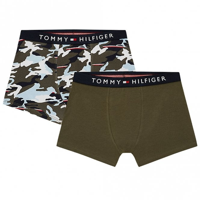 Tommy Hilfiger Boys 2 Pack Original Cotton Boxer Trunk, Grapeleaf / Khaki