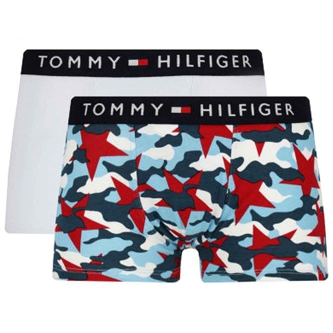 Tommy Hilfiger Boys 2 Pack Original Cotton Boxer Trunk, Tango Red / Halogen Blue