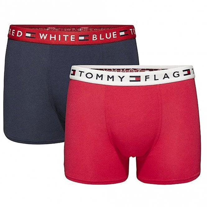 Tommy Hilfiger Boys 2 Pack REMIX Boxer Trunk, Tango Red / Navy Blazer