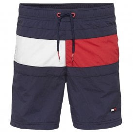 Boys Core Flag Drawstring Swim Shorts, Navy Blazer