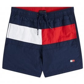 Boys Core Flag Drawstring Swim Shorts, Pitch Blue
