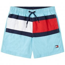 Boys Core Flag Drawstring Swim Shorts, Silk Blue