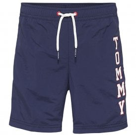 Boys Logo Drawstring Swim Shorts, Navy Blazer