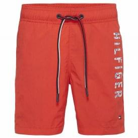 Boys Medium Drawstring Swim Shorts, Flame Scarlet