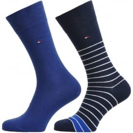 Breton Stripe 2 Pack Cotton Logo Socks, Tommy Classic
