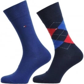 Check 2 Pack Cotton Logo Socks, Tommy Classic
