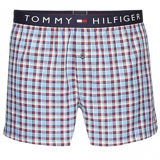 Tommy Hilfiger Check Woven Boxer Short, Stillwater