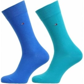 Classic 2 Pack Cotton Logo Socks, Lake Blue