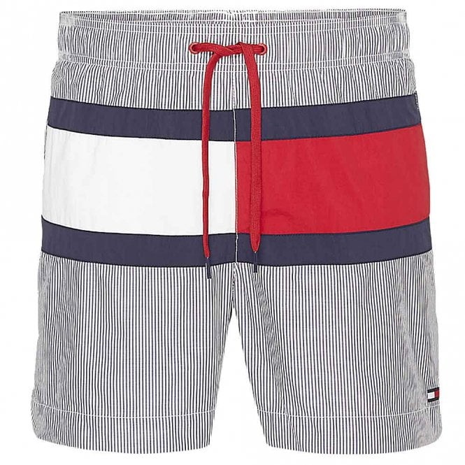 Tommy Hilfiger Core Flag ITHACA Medium Drawstring Swim Shorts, ITHACA Navy Blazer / Snow White