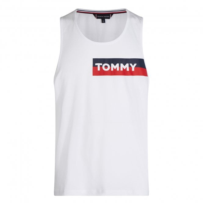 Tommy Hilfiger Cotton Jersey Logo Tank Top, Classic White