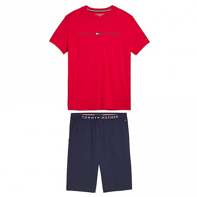 Tommy Hilfiger Cotton Pyjama Set, Tango Red / Navy Blazer