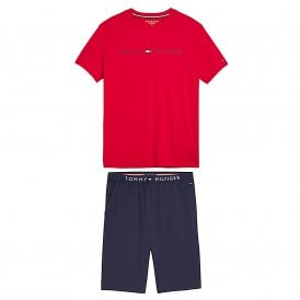 Cotton Pyjama Set, Tango Red / Navy Blazer