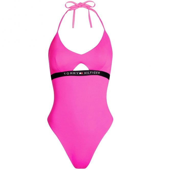 Tommy Hilfiger Cut Out Detail One-Piece Swimsuit, Pink Glo