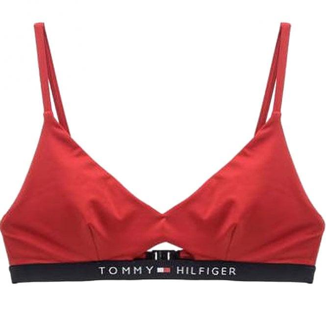 Tommy Hilfiger Cut Out Detail Swim Bikini Top, Tango Red
