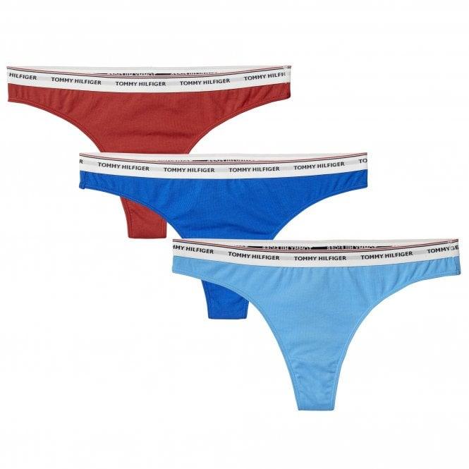 Tommy Hilfiger Essentials 3-Pack Thong, Red / Blue / Light Blue