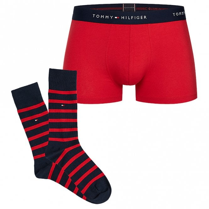 Tommy Hilfiger Everyday Pack Trunk / Sock Set, Tango Red