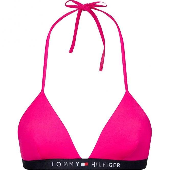 Tommy Hilfiger Fixed Triangle Logo Swim Bikini Top, Pink Glo