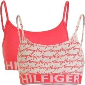 Girls 2 Pack Bold Bralette, Rouge Red / Logo Print