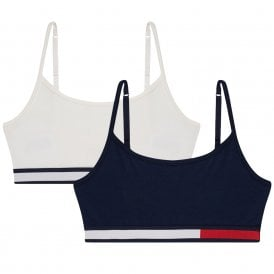 Girls 2 Pack COLOR BLOCK CTN Bralette, Navy Blazer/Snow White