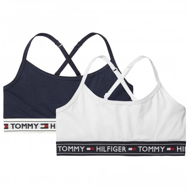 Tommy Hilfiger Girls 2 Pack Crossover Bralette, White / Navy Blazer