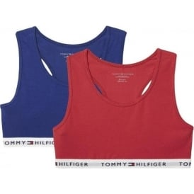 Girls 2 Pack Iconic Bralette, Crimson / Blue Depths