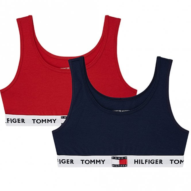 Tommy Hilfiger Girls 2 Pack Original Cotton Bralette, Navy Blazer / Tango Red