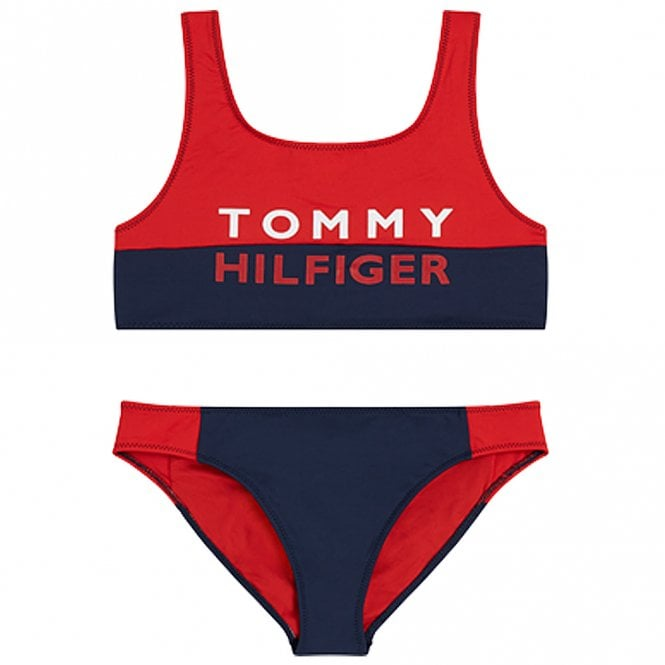 Tommy Hilfiger Girls Bold Swim Bralette/Bikini Set, Red Glare