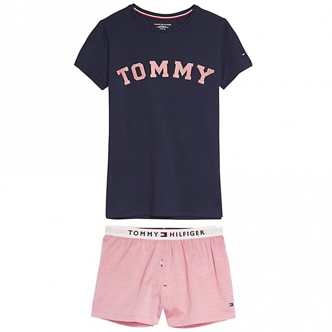 Tommy Hilfiger Girls Pure Cotton Short Pyjama Set, Navy Blazer / Rose Tan