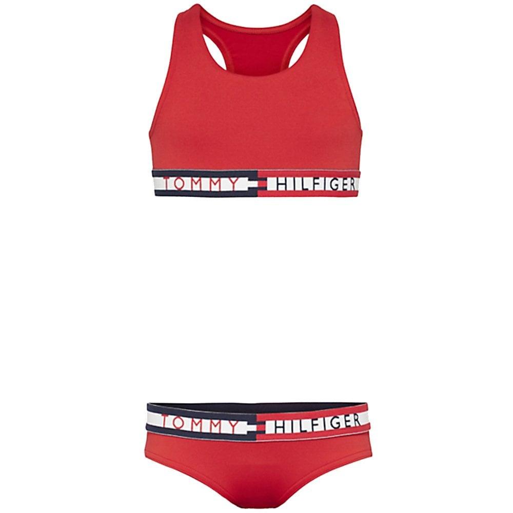 Tommy Hilfiger Girls 2 Pack Tommy 85 Bralette Navy Blazer//Tango Red