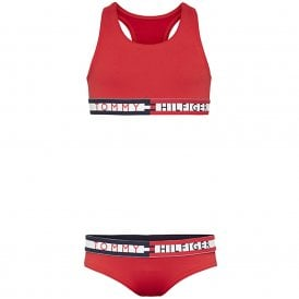 Girls Swim Bikini Set, Tango Red