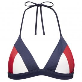 Halterneck Triangle Retro Bikini Top, Navy Blazer