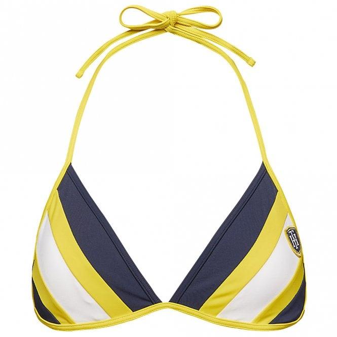 Tommy Hilfiger Halterneck Triangle Stripe Bikini Top, Navy Blazer