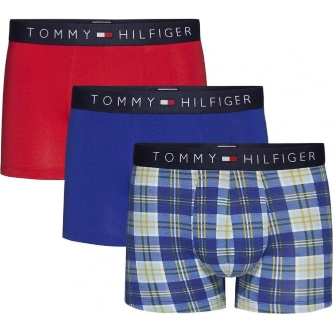 Tommy Hilfiger Icon 3-Pack Trunk, Chambray Blue Check / Tango Red / Sodalite Blue