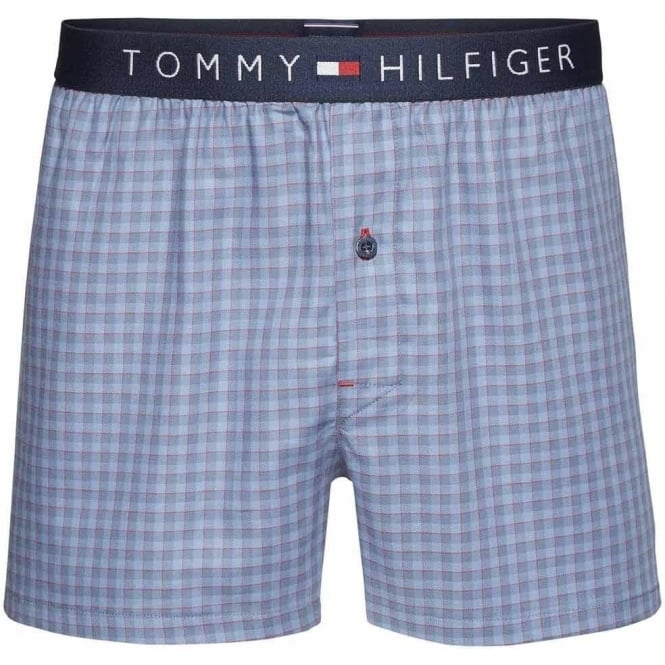 Tommy Hilfiger Icon Mini Check Woven Boxer, Infinity