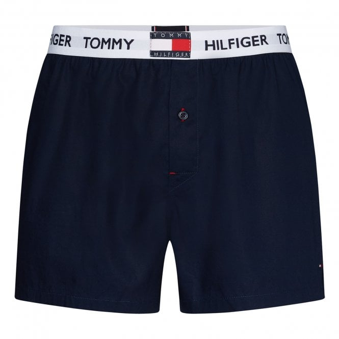 Tommy Hilfiger Logo Pure Cotton Woven Boxer, Navy Blazer