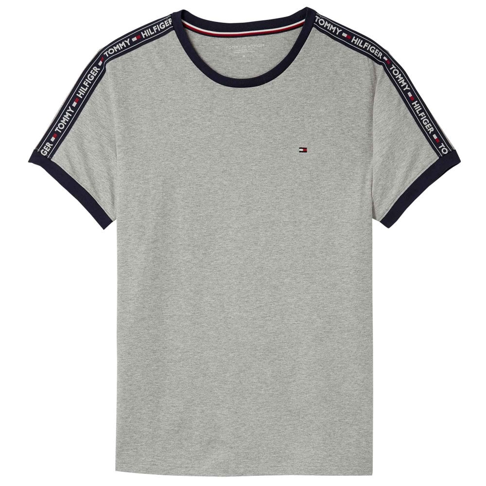 56e77e7b Tommy Hilfiger Logo Tape Crew Neck T-Shirt, Heather Grey