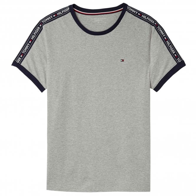 Tommy Hilfiger Logo Tape Crew Neck T-Shirt, Heather Grey